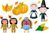 Thanksgiving icon set — Stok Vektör