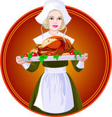 Woman holding a roasted turkey on a plat — Vector de stock