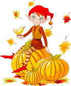 Pumpkin elf — Stock Vector