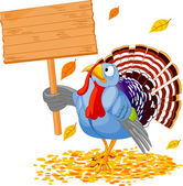 Illustration of a Thanksgiving turkey holding a blank board sign — Stock Vector