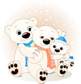 Polar bear family — Stock Vector
