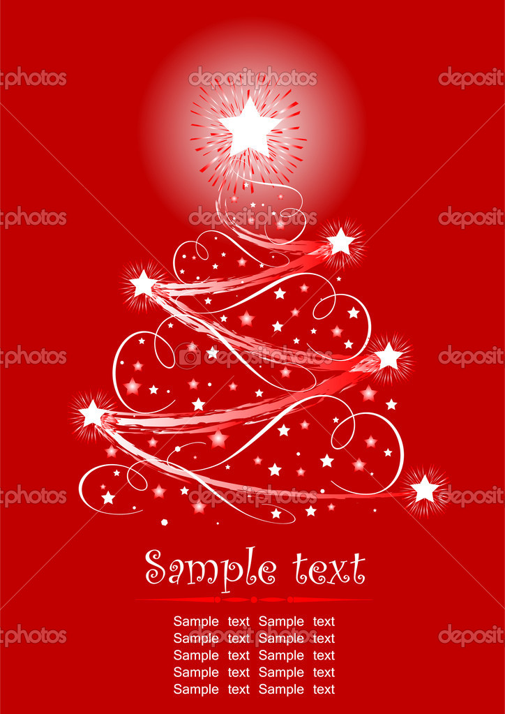 Christmas tree with decorations  on red background  — Stock Vector #1151537