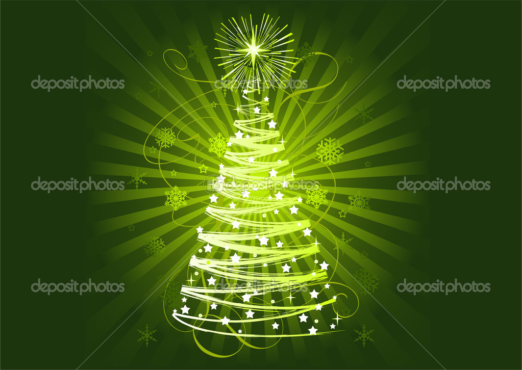 Green Christmas tree on abstract horisontal background  — Stock Vector #1151550