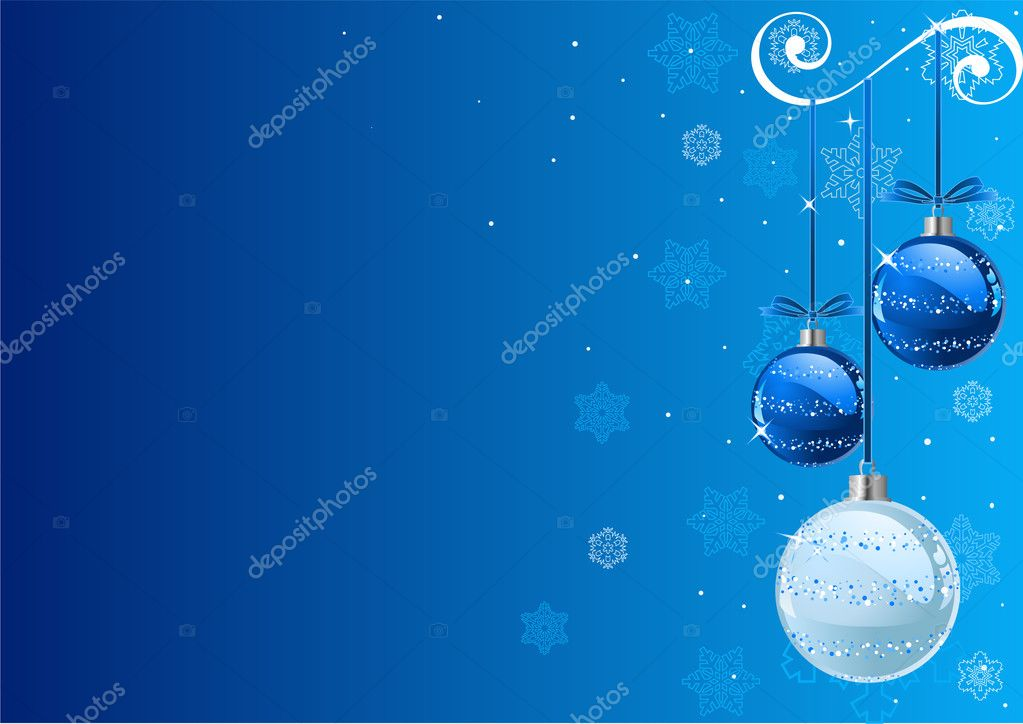 Vector Christmas Background with balls and snowflakes — Stock Vector #1151577