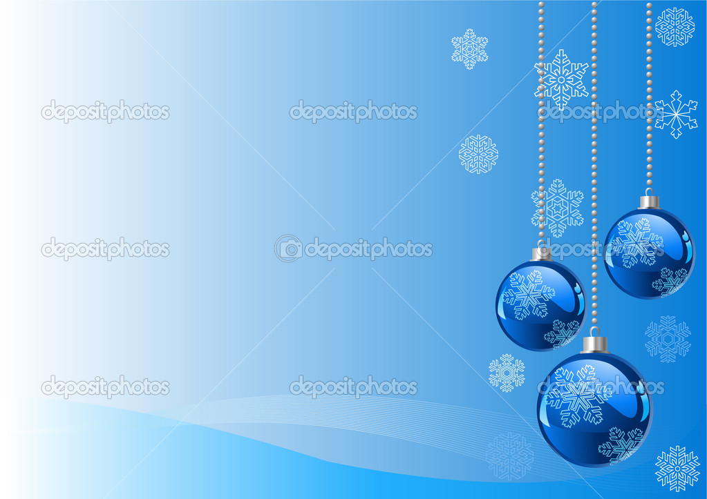 Vector Christmas Background with balls and snowflakes — Stock Vector #1151590