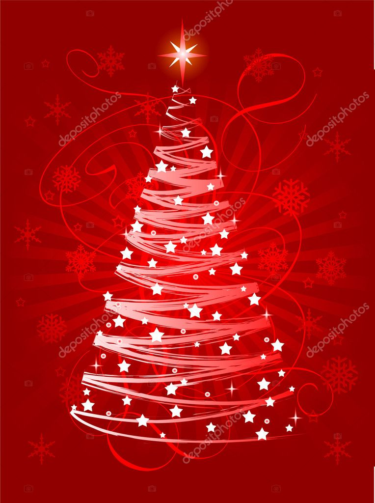 Red Christmas tree on abstract background  — Grafika wektorowa #1151591