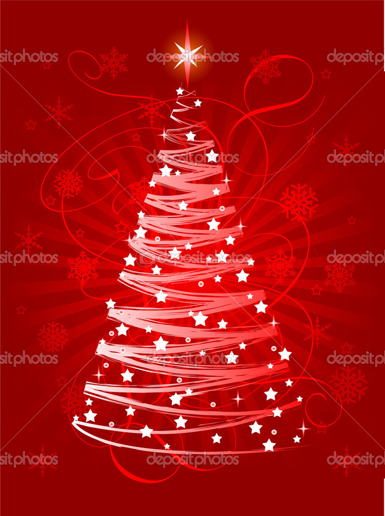 Red Christmas tree on abstract background  — Vettoriali Stock  #1151591