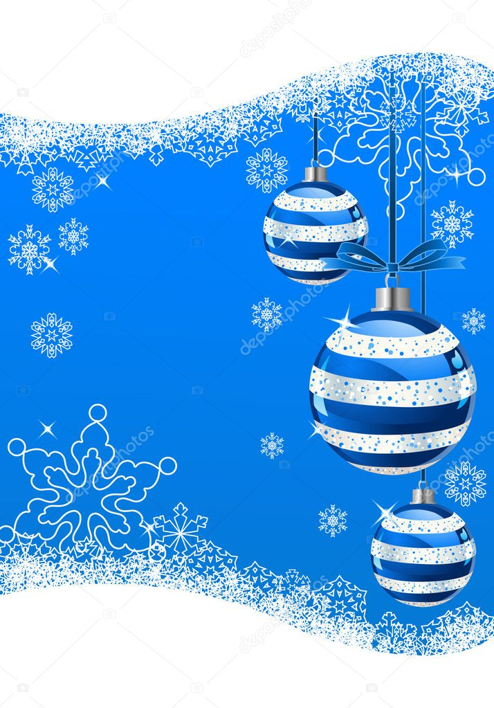 The white snowflakes on top of the blue background  — Stock Vector #1151722