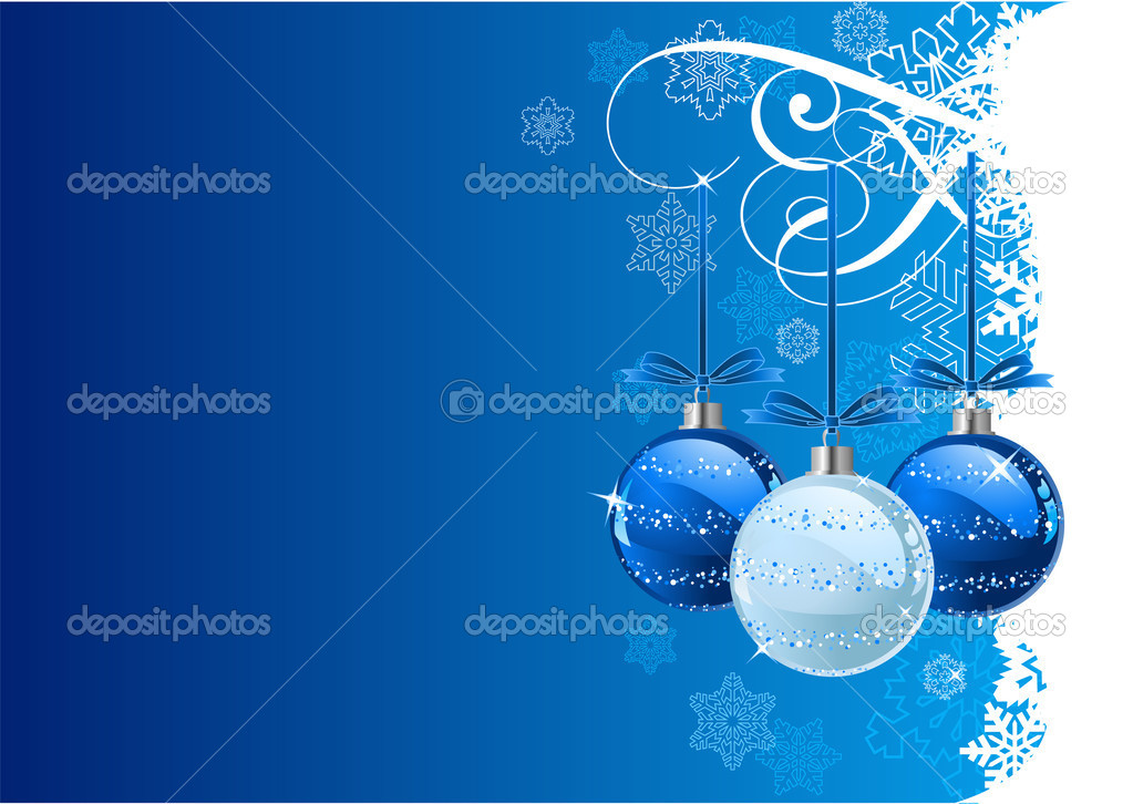 Vector Christmas Background with balls and snowflakes — Imagen vectorial #1151729