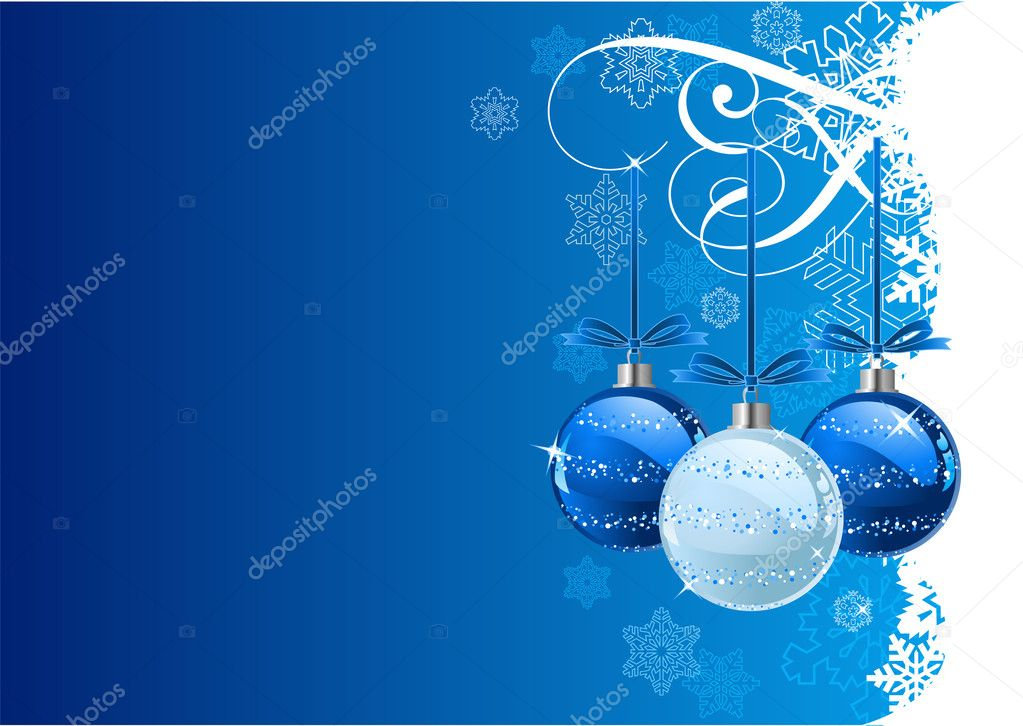 Vector Christmas Background with balls and snowflakes — Векторная иллюстрация #1151729