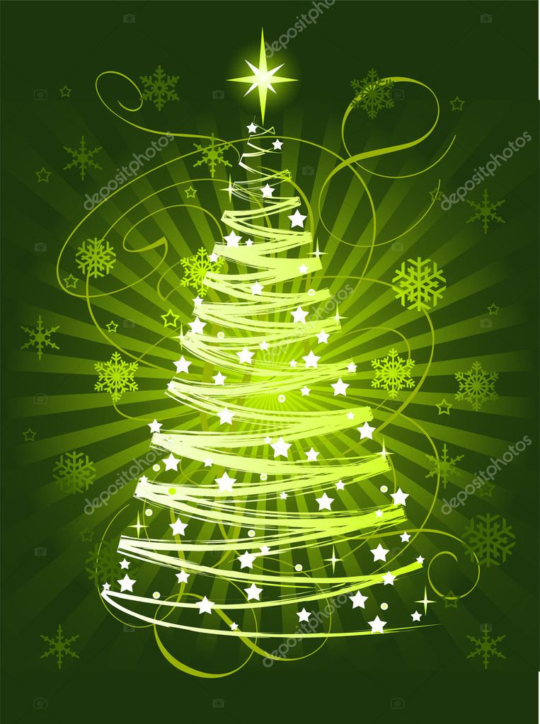 Green Christmas tree on abstract background  — Stock Vector #1151761