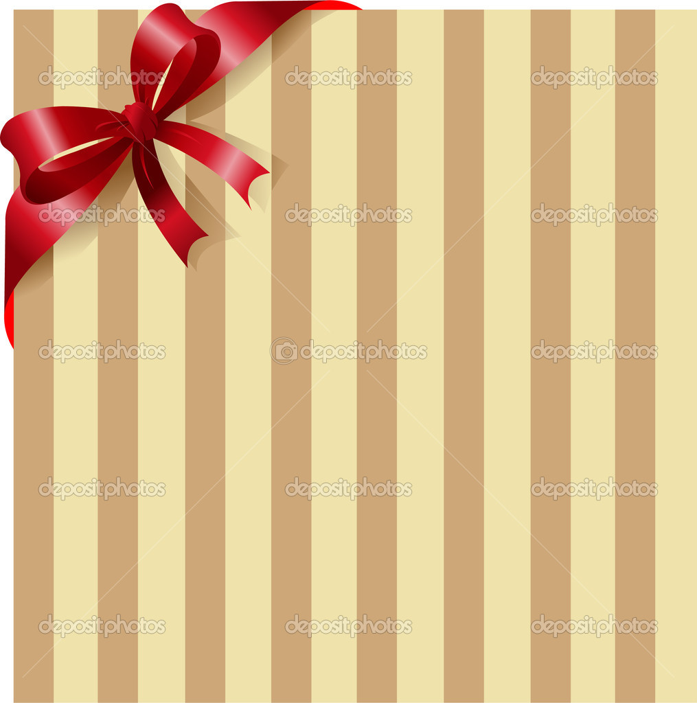 Stripe background with red ribbon and bow. Place for copy/text. — Stock Vector #1151870