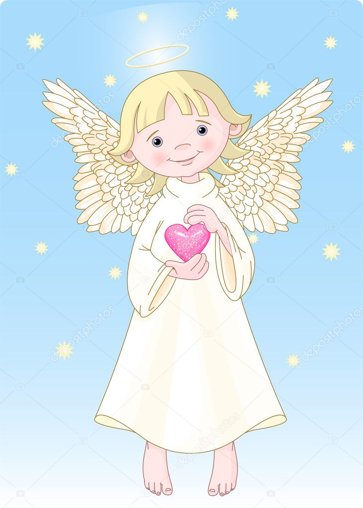 Cute Angel with a heart in hands. All levels are separate.  Stock Vector #1152056