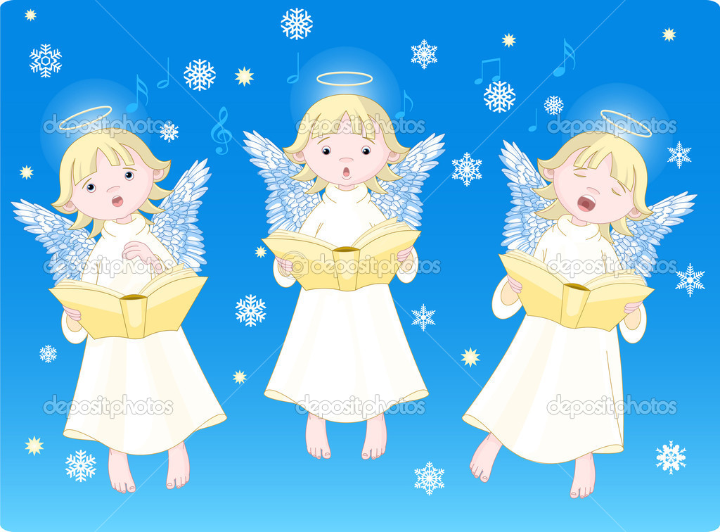 Three cute cartoon angels singing Christmas carols. Background is separate layer — Stock Vector #1152066