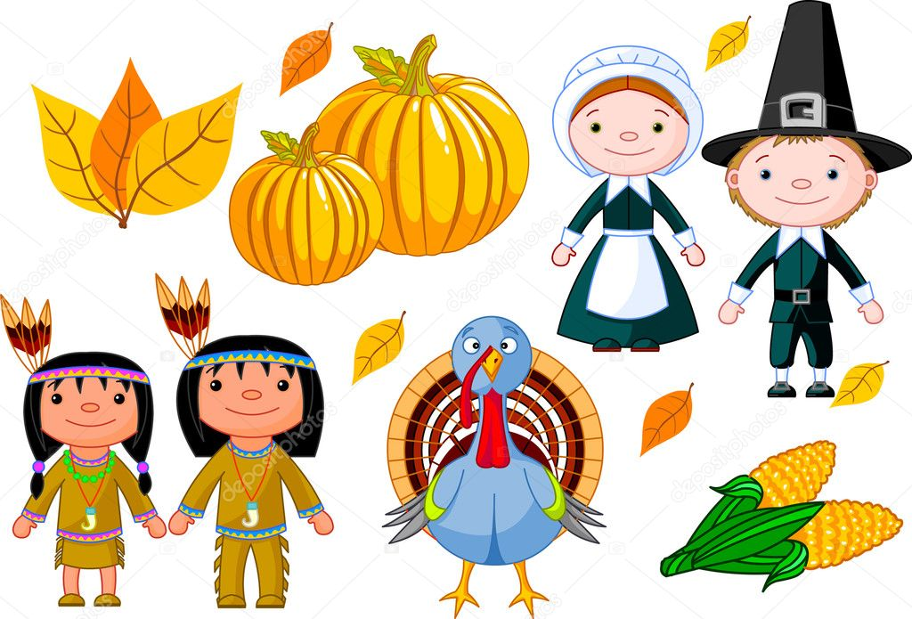 Vector illustration set of thanksgiving icons — Imagens vectoriais em stock #1158009
