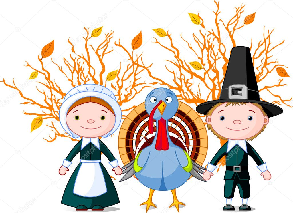 Pilgrims holding a wings (hands) with turkey. All objects are separated — Imagen vectorial #1158019