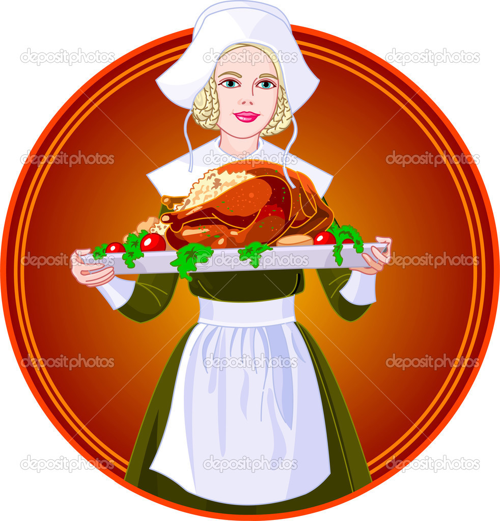 Young woman dressed as a Pilgrim for USA Thanksgiving Holiday, serving a big turkey dinner  — Stock Vector #1158024