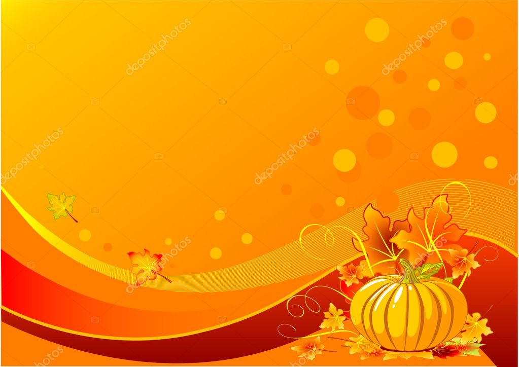 Holiday thanksgiving background with pumpkins and leaves — Stock Vector #1158071