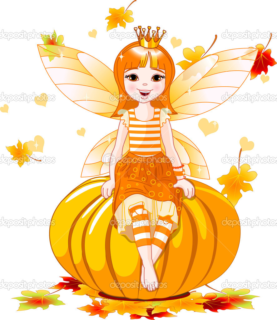 Vector illustration of cute fairy sitting on pumpkin — Stock Vector #1158092