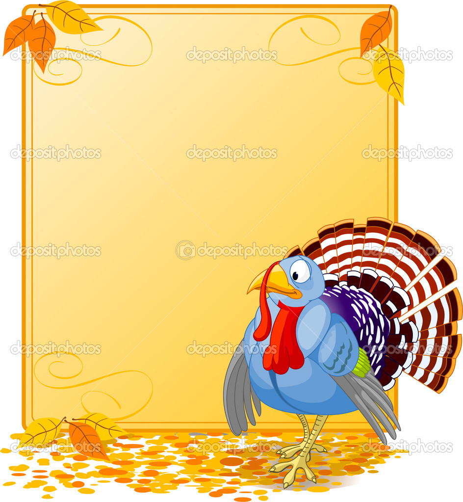 Cartoon turkey strutting with plumage. Elements are layered for easy editing. Great for invitations, announcements, place cards, etc.  — Stock Vector #1158100