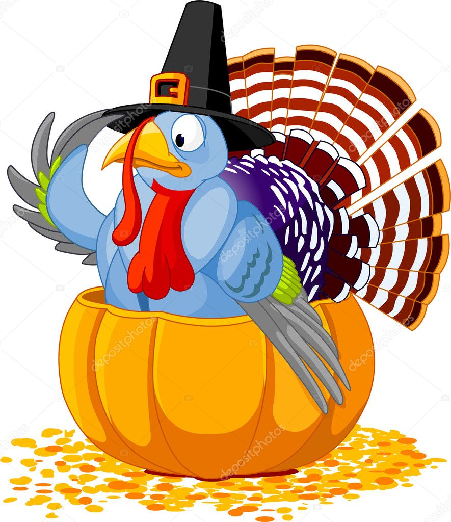 Llustration of a Thanksgiving turkey with pilgrim hat sitting in the pumpkin  Stock Vector #1158111