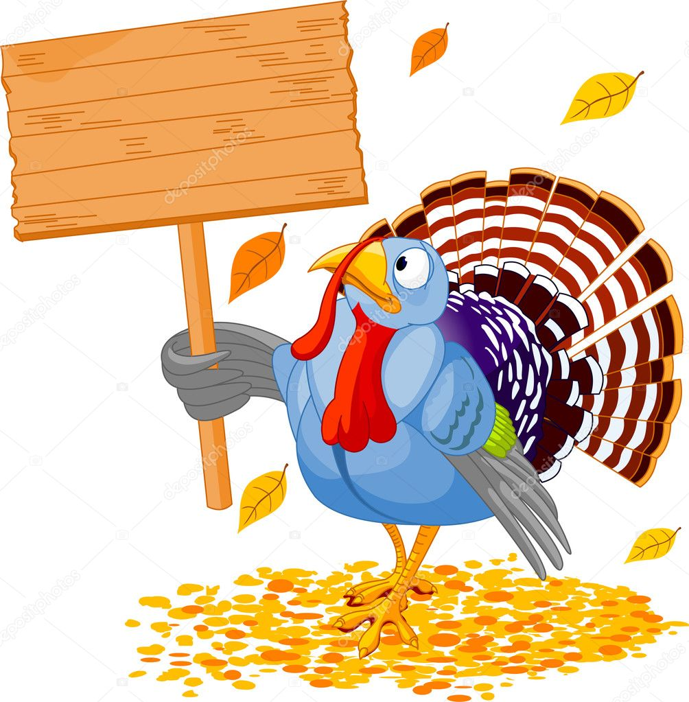 Illustration of a Thanksgiving turkey holding a blank board sign — Stok Vektör #1158120