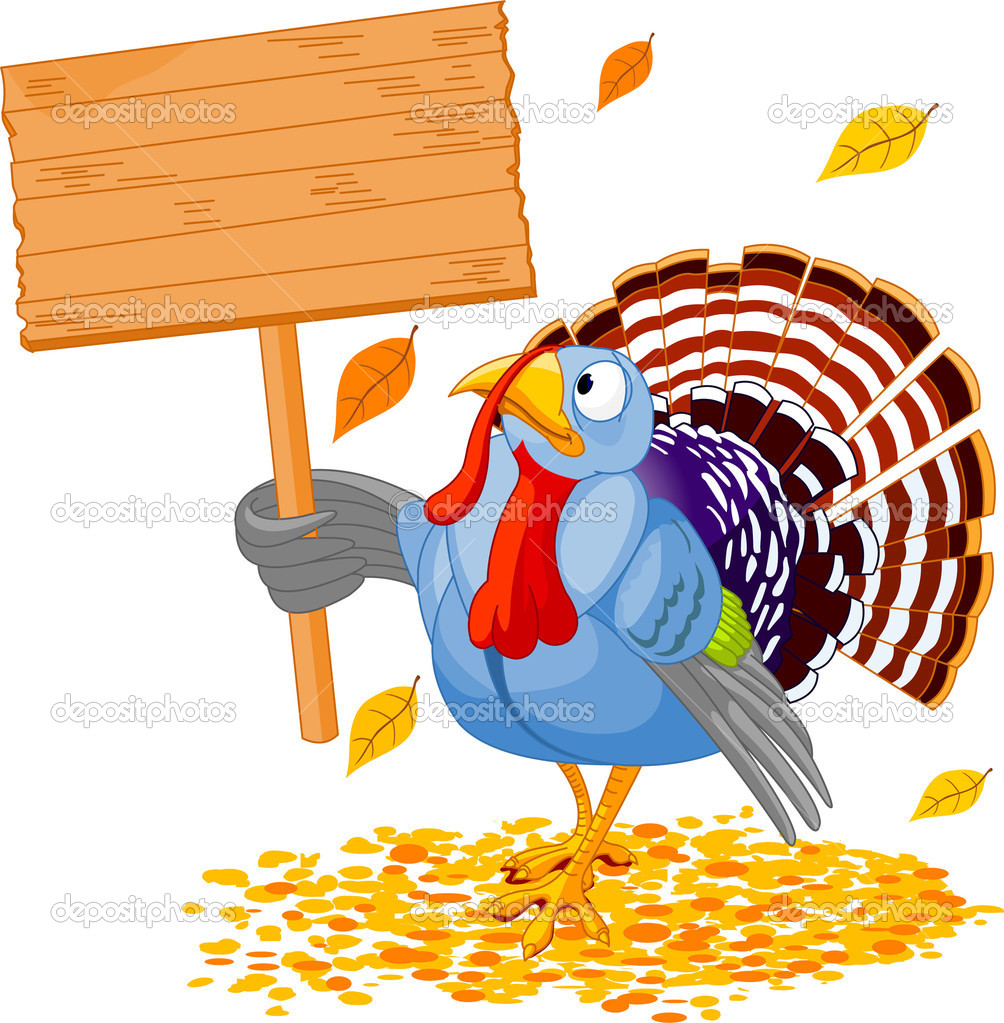 Illustration of a Thanksgiving turkey holding a blank board sign — ベクター素材ストック #1158120