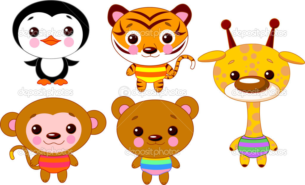Cute funny baby animals set. Vector illustration — Stock Vector #1161129