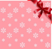 Red ribbon on pink snowflakes background — Stock Vector