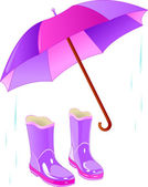 Rain boots and umbrella — Stock Vector