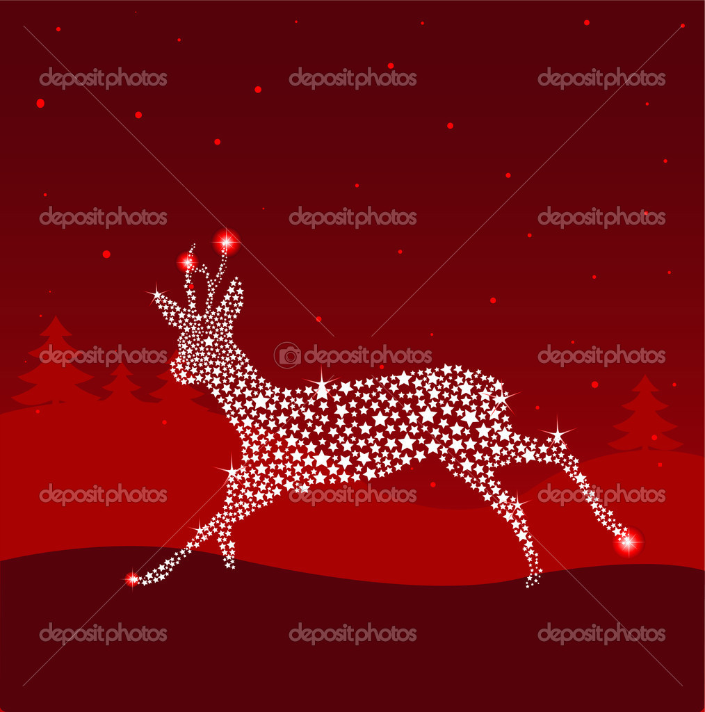 Running Shining Christmas deer. Vintage vector illustration  — Stock Vector #1193981