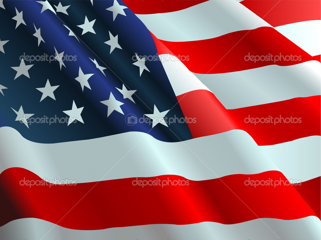 An American flag flowing in the wind.  Stock Vector #1196301