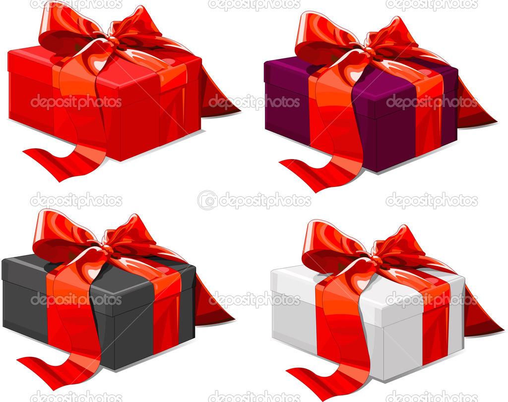 Four different color Gift boxes with  red bow — Stock Vector #1196638