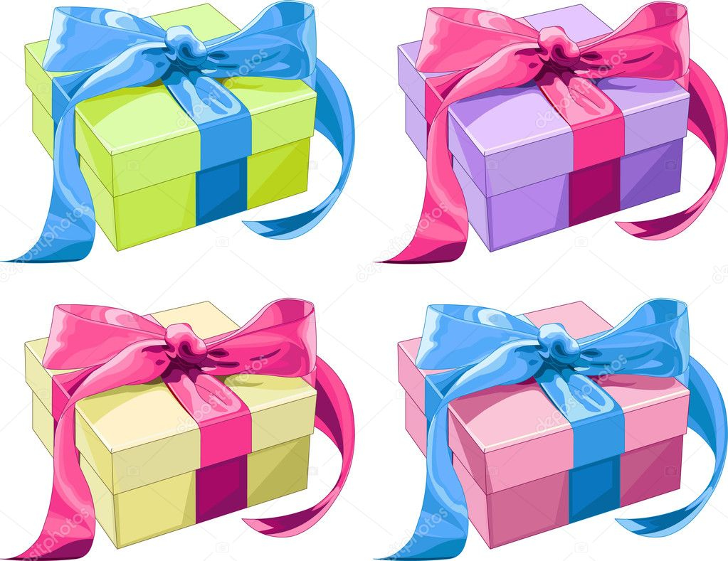 Four different color Gift boxes with  bow. Vector illustration — Stock Vector #1196649