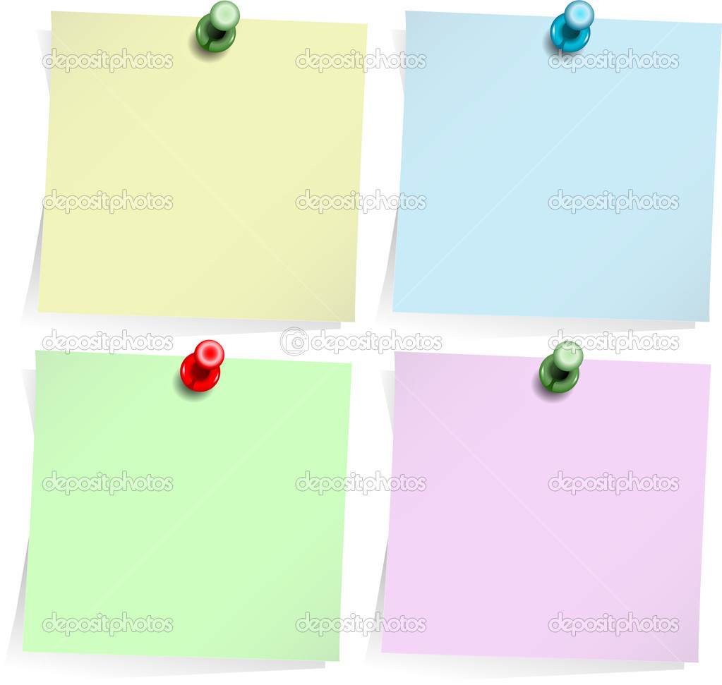 Four adhesive notes with thumbtack isolated on white — Stock Vector #1196786