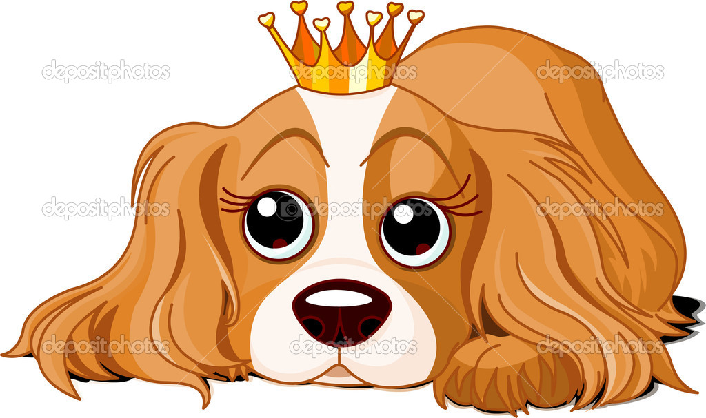 Cavalier King Charles Spaniel with crown  Stock Vector #1228018