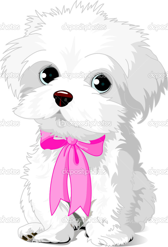 A cute white Havanese puppy posing with pink ribbon — Stock Vector #1228208