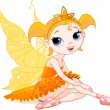 Little  orange fairy ballerina — Stock Vector