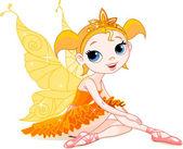 Little orange fairy ballerina — Stock Vector