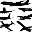 Stock Vector: Airplane silhouettes