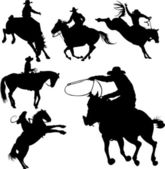 Cowboys on horses silhouettes on a white background. — Stock vektor
