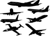 Airplane silhouettes — Stock Vector