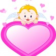Little Angel and valentine heart — Stock Vector