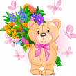 Pink Teddy Bear — Vector de stock #1289771