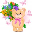 Vector de stock : Pink Teddy Bear