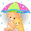 Bears under umbrella — Vector de stock