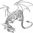 Dragon bw - Stock Vector