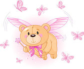 Flying Pink Teddy Bear — Stock Vector