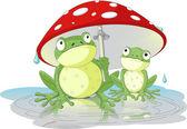 Two frogs wearing rain gear under mushroom — Stock Vector