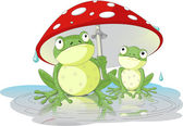 Two frogs wearing rain gear under mushroom — Stock Vector